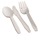 Disposable cutlery: knives, forks and spoons