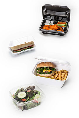 Foam Hinged Dinner Containers