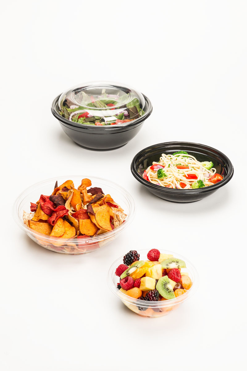 black and clear plastic bowls