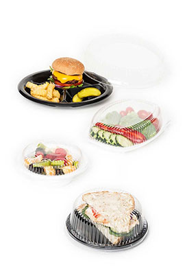 Crystal clear lids for plastic dinnerware items