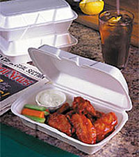 Foam hinged carry out containers from Genpak.