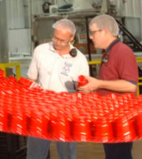 employees at cup manufacturing plant
