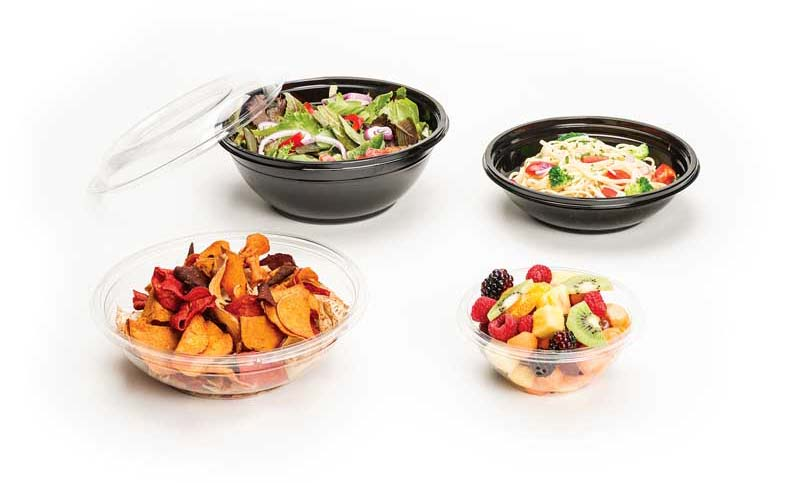Clear and Black Plastic Bowls for Serving, Transport and Storage