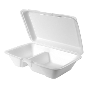 20520 - Large, Deep 2 Compartment All Purpose Foam Hinged Container