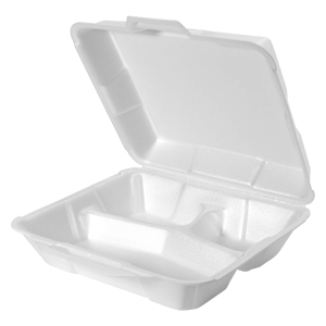 23300 - Medium, Hi-Volume 3 Compartment Foam Hinged Dinner Container