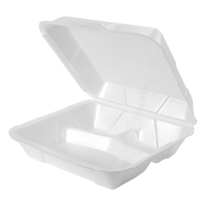 25300 - Jumbo 3 Compartment Foam Hinged Dinner Container