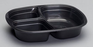 55027 - 3 Comp. Food Tray, 16 oz main, 6 oz sides