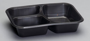 55337 - 3 Compartment Food Tray, 5.5 oz sides, 13.8 oz main