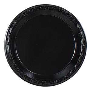 BLK07 - 7 & Black Plastic Dinnerware: Plastic Plates Bowls And Platters