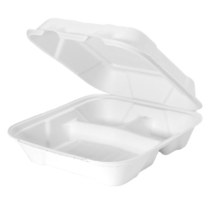 HF203 - Compostable Large Hinged 3 Compartment Container