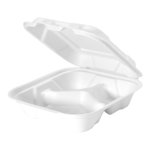 HF243 - Compostable Medium Hinged 3 Compartment Container
