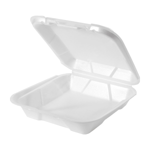 SN100 - Small Foam Hinged Dinner Container, West Coast Only
