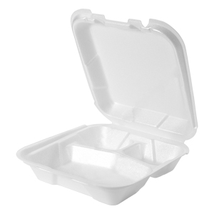 SN103 - Small 3 Compartment Foam Hinged Dinner Container, West Coast Only