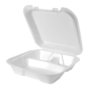 SN203 - Large 3 Compartment Snap It Foam Hinged Dinner Container