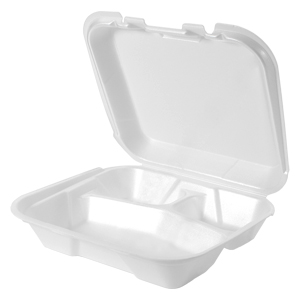 SN223 - Small 3 Compartment Snap It Foam Hinged Dinner Container