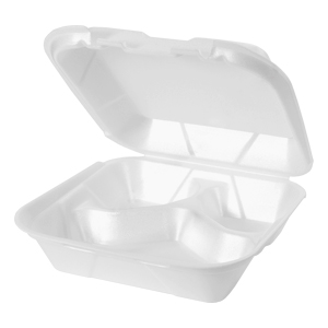 SN243 - Medium 3 Compartment Snap It Foam Hinged Dinner Container