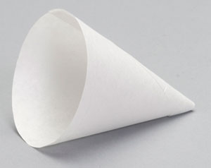 W4 - 4 oz. Straight Rim Paper Cone Cup.  Fits F3W18 dispenser