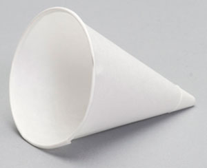 W4FC - 4 oz. Rolled Rim Paper Cone Cup Caddy Pack. Fits ADJ10 dispenser